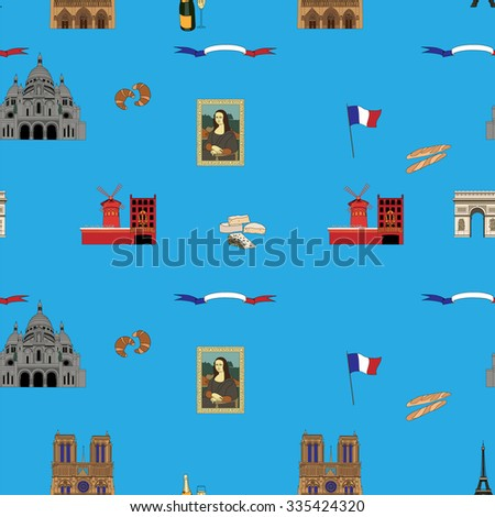 Blue Paris vector seamless pattern hand-drawn landmarks illustration colored background - stock vector
