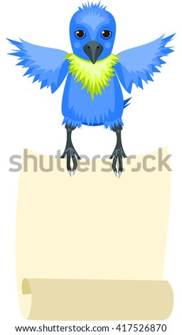 Blue parrot flies and holds in paws scroll. Vector. - stock vector