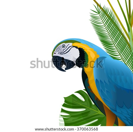 Blue parrot on a background of tropical vegetation - stock vector