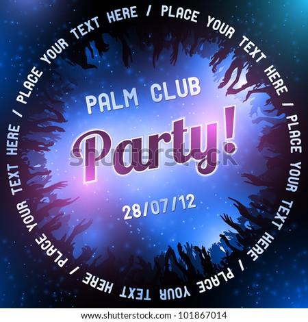 Blue Party flyer vector template - stock vector