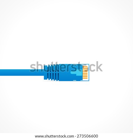 Blue patch cord isolated over white background - stock vector