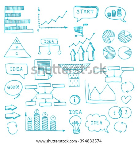 Blue pen hand drawn doodle business timeline element for Infographic. For business projects templates for presentation and training. Simple Editable Graphic infographics elements. Vector illustration. - stock vector