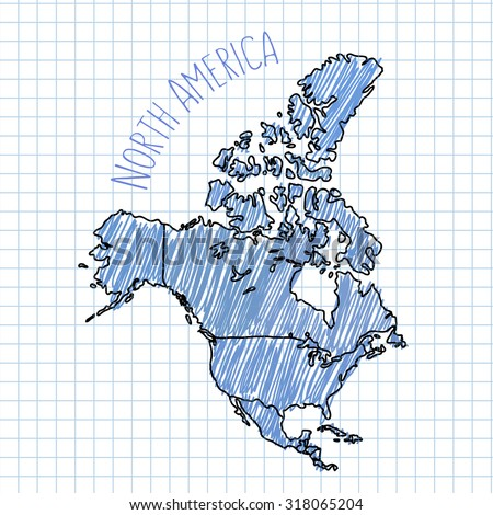 Blue pen hand drawn North America map vector on paper illustration - stock vector