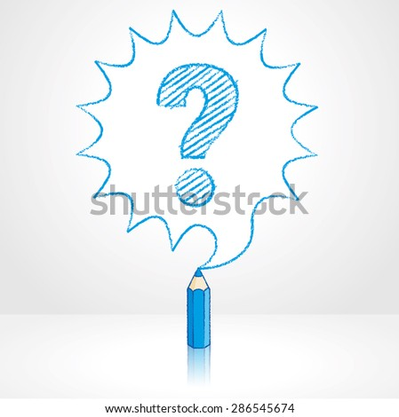 Blue Pencil with Reflection Drawing Question Mark in Rounded Starburst Speech Bubble Grey Background - stock vector