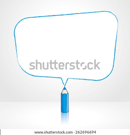 Blue Pencil with Reflection Drawing Smooth Skewed Rectangular Shaped Speech Bubble on Pale Background - stock vector