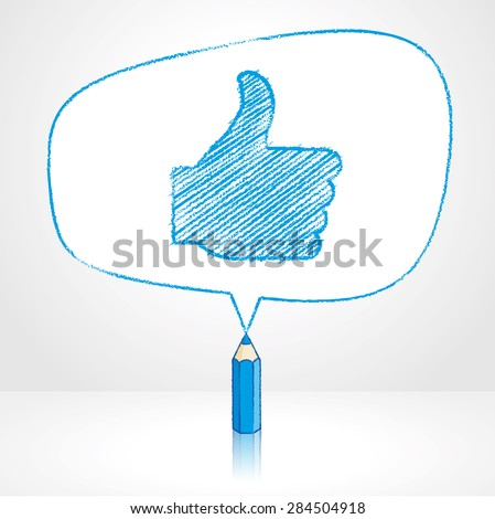 Blue Pencil with Reflection Drawing Thumbs Up Symbol in irregular shaped Speech Bubble on Pale Background - stock vector
