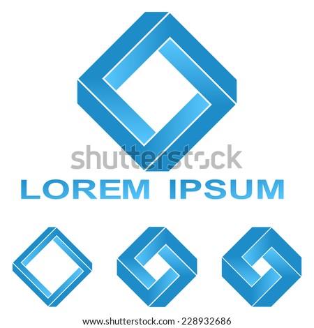 Blue Penrose Rectangle Technology Company Symbol Stock Vector