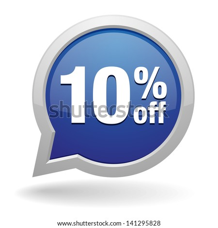 Blue 10 percent off speech bubble - stock vector