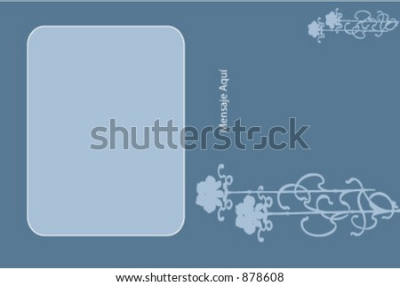 Blue photo card with flowers - stock vector