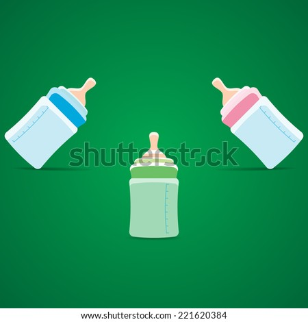 Blue, pink and green baby bottles illustration - stock vector