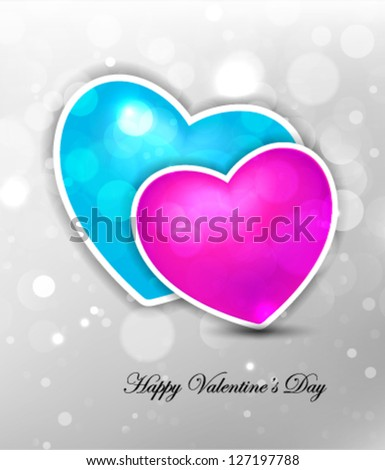 blue & pink hearts, lovely hearts illustration - stock vector