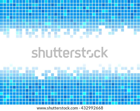 Blue pixel mosaic background. Vector illustration. - stock vector