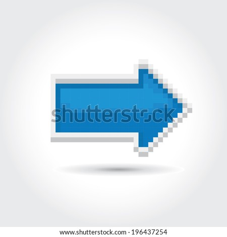 blue pixel style arrow sign or button isolated on white for web design - stock vector