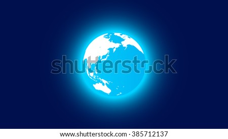 Blue planet Earth. Space background. Cartoon. One position of the 24's.