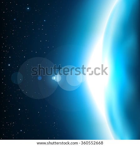 Blue planet glow light. Stars and reflections of light on background. Space theme - stock vector