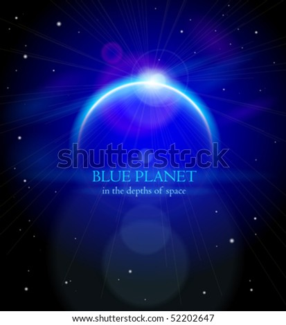 Blue Planet in the depths of space. Eps10 - stock vector