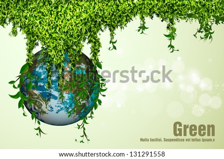 blue planet in the grass and leaves - stock vector