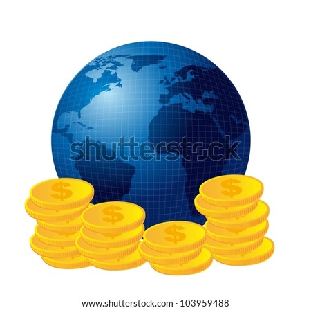 blue planet over coins isolated over white background. vector - stock vector