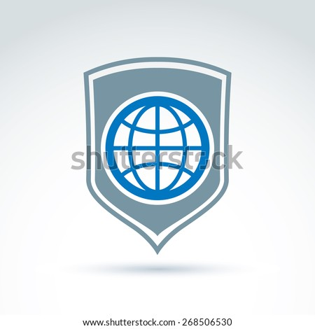 Blue planet placed on a shield, save earth conceptual symbol. Ecology vector icon on universe protection theme. - stock vector