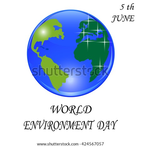Blue planet with green continents. Stylized glossy ball. World environment Day. Vector illustration