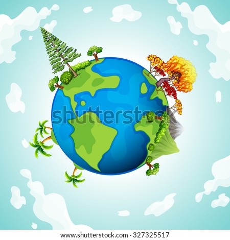 Blue planet with trees and mountains illustration