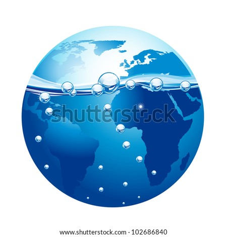 blue planet with water and bubble isolated over white background. vector