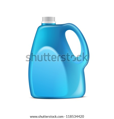 Blue Plastic Jerrycan On White Background Isolated. Ready For Your Design. Product Packing Vector EPS10