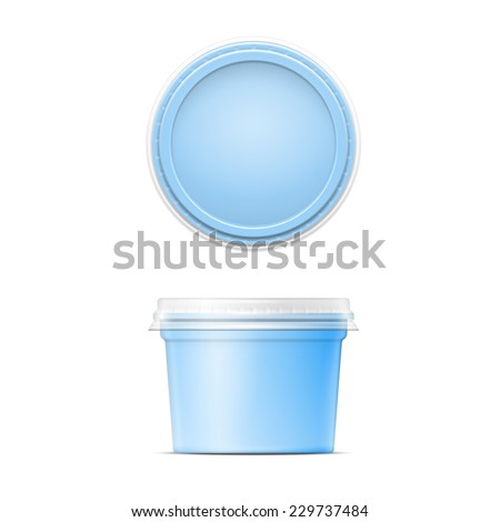 Blue plastic spread container template with transparent cap on white background. Packaging collection. - stock vector