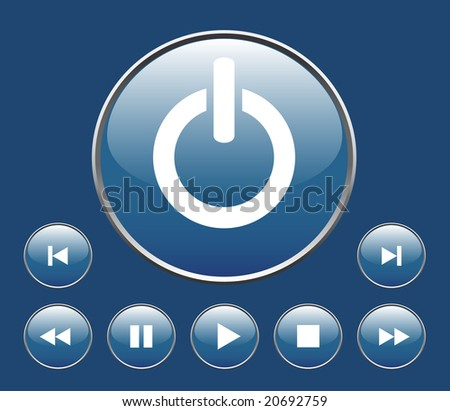 Blue player buttons for player. - stock vector