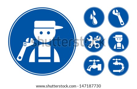Blue Plumber Icons Set, eps vector illustration - stock vector