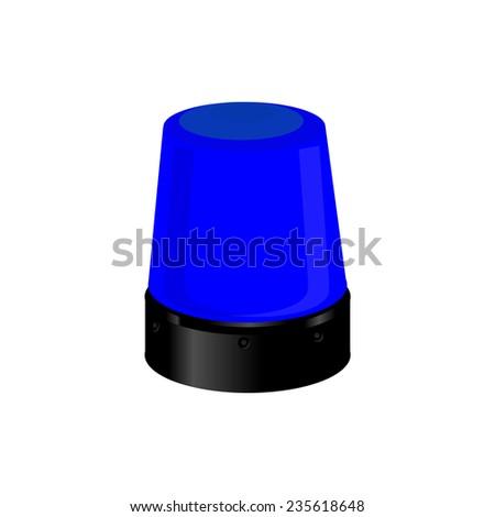 Blue police light, emergency light,police siren, warning - stock vector