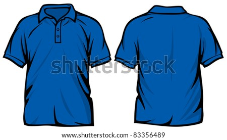 blue polo shirt - stock vector