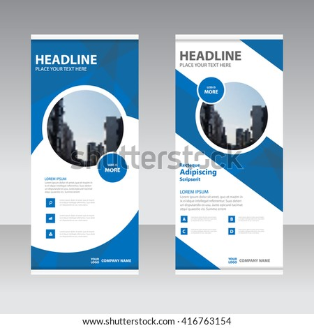 Blue polygon Business Roll Up Banner flat design template ,Abstract Geometric banner Vector illustration set - stock vector
