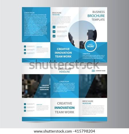 Blue polygon elegance business trifold business Leaflet Brochure Flyer template vector minimal flat design set - stock vector