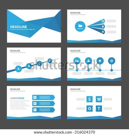 Blue polygon Infographic elements presentation template flat design set for brochure flyer leaflet - stock vector