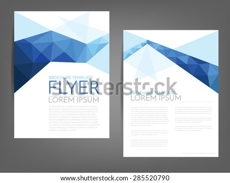 Blue polygonal line brochure template flyer background design for A4 paper size with white space for text and message design - stock vector