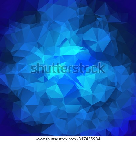 Blue polygonal mosaic background. Crystal background. Low poly style vector illustration - stock vector
