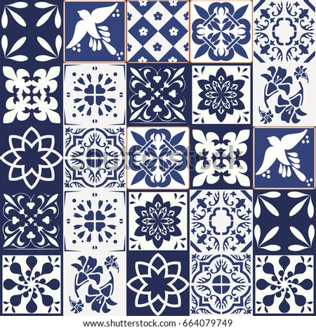 blue portuguese tiles pattern azulejos vector stock vector 664079749 shutterstock. Black Bedroom Furniture Sets. Home Design Ideas