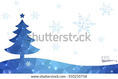 Blue postcard low polygon style christmas tree vector illustration consisting of triangles.Abstract triangular polygonal origami or crystal design of New Years celebration.Isolated on white background - stock vector