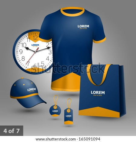 Blue promotional souvenirs design for company with orange arrow. Elements of stationery. - stock vector