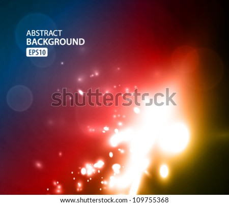 Blue, purple and orange nebula on black space background. Vector illustration - stock vector