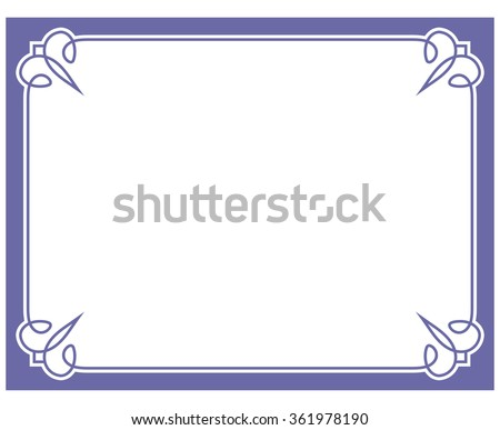 Blue purple border frame deco vector label simple line corner - stock vector