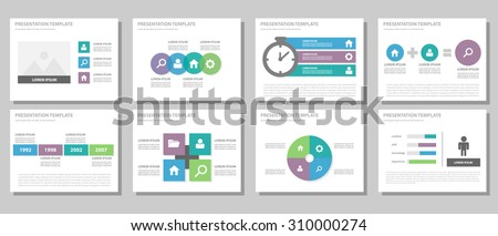 Blue purple green multipurpose infographic presentation template flat design set for brochure flyer advertising and marketing - stock vector
