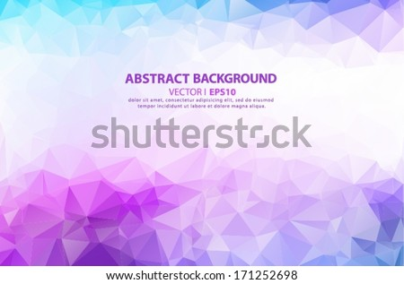 Blue, purple, pink geometric pattern, triangles background, polygonal design. - stock vector