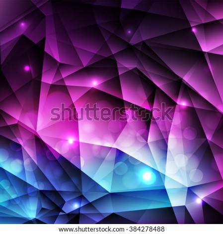 Blue, purple, pink geometric pattern, triangles background, polygonal design. Vector EPS 10 illustration. - stock vector