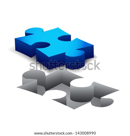 Blue Puzzle on white background. Isolated 3D image - stock vector