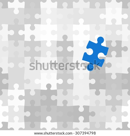 Blue puzzle piece different from another grey ones - stock vector