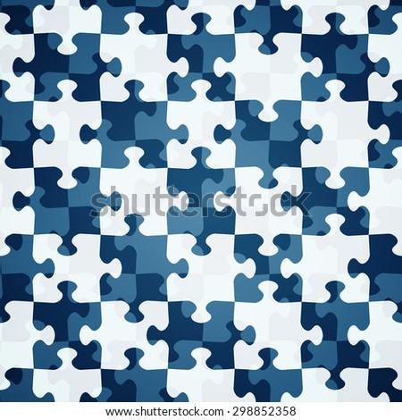 blue puzzle seamless pattern