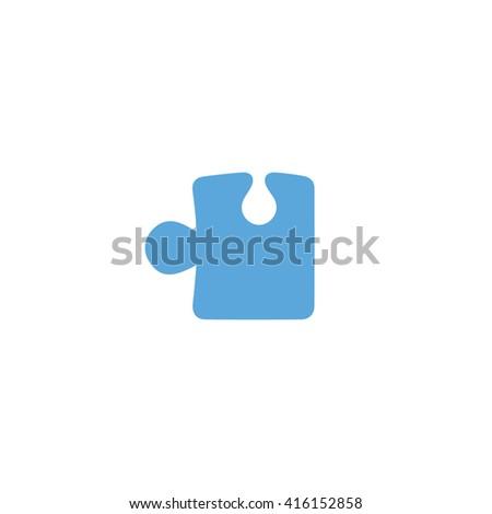 Blue puzzle vector icon illustration. - stock vector