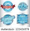 blue quality labels - stock vector